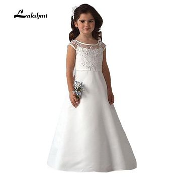 eb9d7f448604 2016 White Scoop Neckline Ruffles A-line Long First Communion Dr. Item  Type: Flower Girl Dresses ...