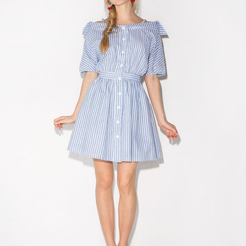 Casual Striped Off Shoulder Button Down Pleated Mini Skater