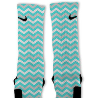 Tiffany Blue Chevron Customized Nike Elite Socks!!
