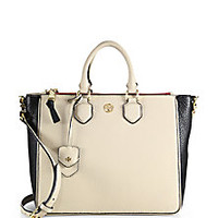 Tory Burch - Robinson Two-Tone Square Tote - Saks Fifth Avenue Mobile