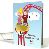 Couple Riding a Roller Coaster for National Roller Coaster Day card