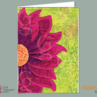 Quilted Card, Greeting Card, Quilt Card, Personalized Card, PURPLE CONE FLOWER, Sunflower, Printed on Cardstock, Blank, 5 x7 w/ envelope