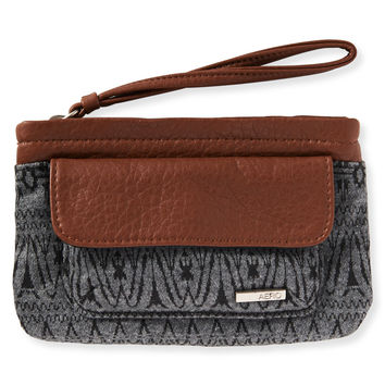Aeropostale  Mix Print Faux Leather Wristlet - Black