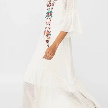 White Embroidery Floral Maxi Dress And Cami Lining