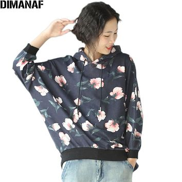 Women Big Size Hoodies & Sweatshirts Autumn Floral Print Batwing Tops Cotton Casual Fashion 2017 Large Size Short Pullover Hat