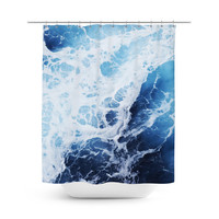 Blue Ocean Surf 2 - Shower Curtain, Coastal Style Vanity Bathroom Decor, Beach Surf Bohemian Hanging Bath Tub Curtain Backdrop Accent. 71x74