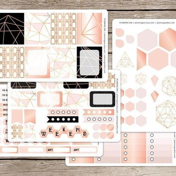 Rose Gold Geometric Vinyl Planner Stickers for use with ECLP Vertical Planners