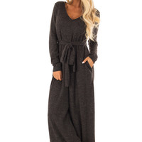Charcoal Ribbed Knit Long Sleeve Jumpsuit with Waist Tie