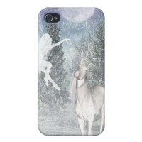 Fairy and unicorn snow iPhone case Cover For iPhone 4