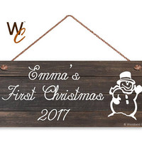 "Baby's First Christmas Sign, Personalized 6""x14"" Sign, Custom Baby Name, 1st Christmas Display, Dark Wood Style, Snowman Sign, Holiday Gift"