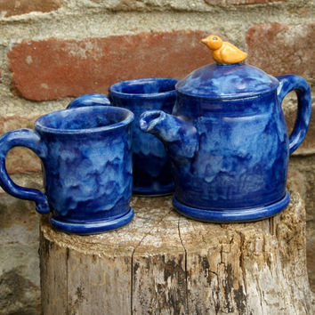 Blue Tea Set with Bird knob - Hand thrown Stoneware Pottery - ceramic tea pot and two tea cups
