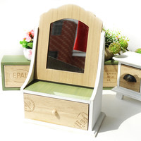 Wooden Pastoral Style Home Storage Box Decoration Mirror [6256363718]