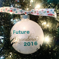 "Baby Announcement Grandparent Gift - Future Grandma Gifts - Glitter Christmas Ornament - Customizable 4"" Glass Ornament - Great Grandma"