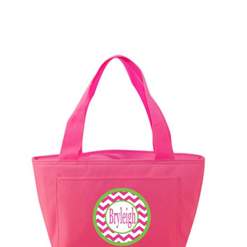 Pink Chevron Personalized Hot Pink Lunch Tote Bag