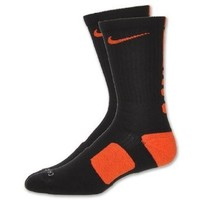 Men's Nike Dri Fit Elite Socks Large Black/Team Orange Size Large