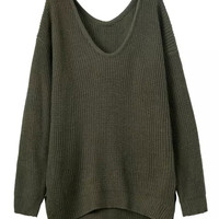 Military Green V-Neck Side Split Chunky Long Sleeve Knit Sweatshirt