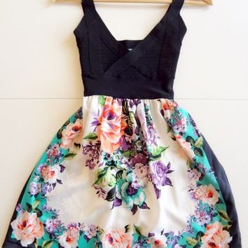 Blue Floral Humming Anthropologie Dress Size Medium