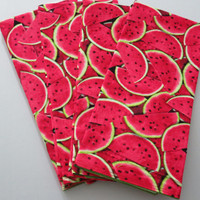 Pair of Dish or Kitchen Towels, Watermelon Print, Handmade, Bright Green on Reverse Side, 100% Premium Cotton, Set of 2