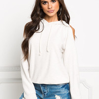 Cream Soft Knit Cold Shoulder Hooded Sweater
