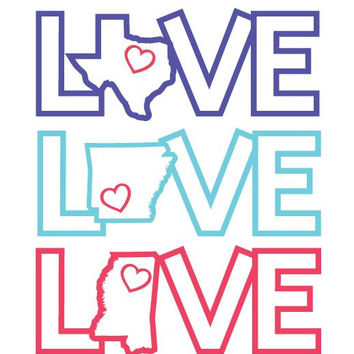 """6"""" Love your State Vinyl Sticker car decal"""