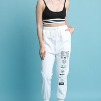 Graphic Print High Waisted Jogger Pants