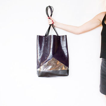 Metallic Purple Leather Shopper // Galaxy Silver Black Tote // Geometric Hobo Bag // Laptop Purse // Valentine Day's Gift