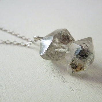 Tourmalinated Quartz Points Necklace - Natural Terminated Clear Quartz and Black Tourmaline Pendant Necklace stone no.6