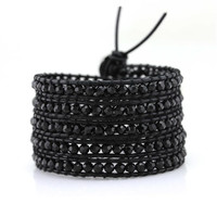 Jet Black Crystals on Black Leather Wrap Bracelet