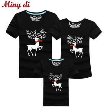 Ming Di Christmas Family Matching Outfits T-shirt More Color Milu Deer Matching Family Clothes Mother Father Baby Short Sleeve