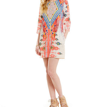 GB 3/4 Sleeve Printed Shift Dress | Dillards