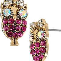 BetseyJohnson.com - ENCHANTED OWL STUD EARRING FUSCHIA