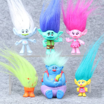 Trolls Movie 6Pcs/Set 8cm Dreamworks Figure Collectible Dolls Poppy Branch Biggie PVC Trolls Action Figures Doll Toy Trolls