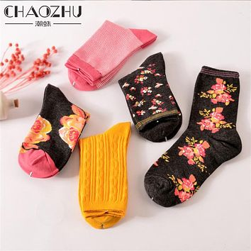 Women High Quality Cotton Socks Floral Pink Rose Spring Autumn Calcetines For Girls Lady
