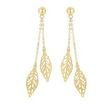 14K Yellow Gold 55X7.8mm Shiny Piatto Type Link+2 Hanging Leaf On Ball Post Fancy Drop Earring with Push Back Clasp