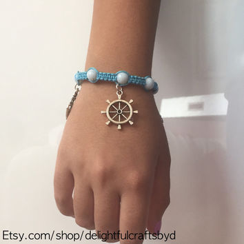 Nautical Hemp Bracelet, Adjustable Blue Anchor Macrame Bracelet