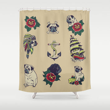 Pugs and the sea Shower Curtain by Huebucket