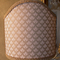 Shield Shade Fortuny Fabric Canestrelli Ivory & Silvery Gold Lampshade - Handmade in Italy