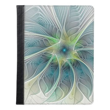 Flourish Fantasy Modern Blue Green Fractal Flower iPad Case