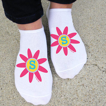 Pop Flower Monogrammed Socks - Set of 3
