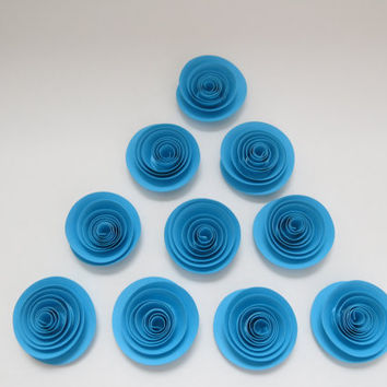 "10 Aqua Blue paper Roses Loose table decorations Winter wedding Bridal Shower Decor 1.5"" Mini Flower Bouquet home decor single rosette set"
