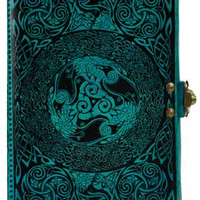 Celtic Blue Leather Blank Journal w/ latch