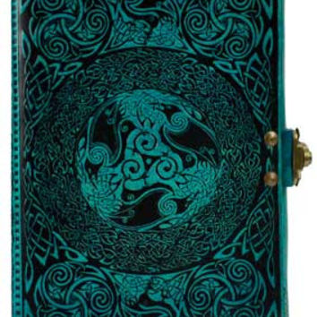 Celtic Blue Leather Covered Journal with Latch