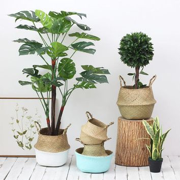 Laundry Basket Storage Basket Home Storage Decoration Rattan Seaweed Willow Folding Hanging Basket Planter Knitting Dirty