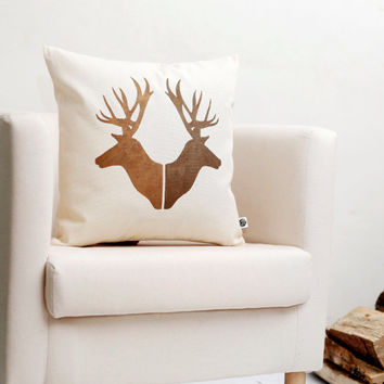Deer pair head cushion cover Reindeer Christmas pillow gold print modern pillow winter pillow