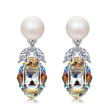 """Princesse de Monaco"" Bowtie Dangle Earrings with Swarovski Crystals. Jewelry Gift for Women"