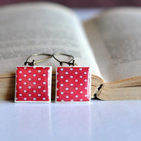 Red Polka Dots Dangle Earrings, Resin Polymer Clay Earrings, Polka Dots Earrings