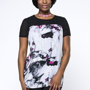 Streetstyle  Casual Round Neck Butterfly Printed Plus Size Blouse