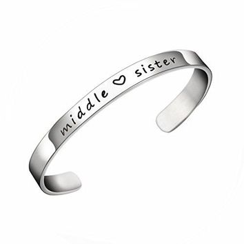 JJTZX Sister Cuff Bracelet Big Sister Middle Sister Little Sister Three Sisters Bracelets Gift for Sisiters