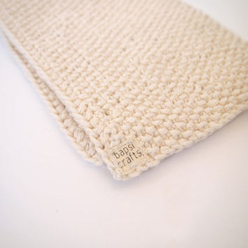 hand knit natural ecru white cotton washcloth