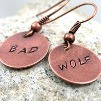 Bad Wolf Earrings Copper Doctor Who Jewelry | foxwise - Jewelry on ArtFire